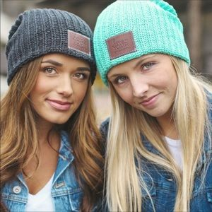 Love Your Melon Blue Slouch Ribbed Knit Beanie Hat